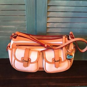 Dooney & Bourke pebbled leather saddlebag.